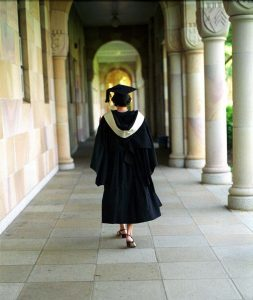 Summer Law School - Law student in graduation gown